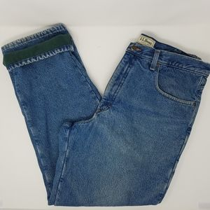 LL Bean Fleece Lined Denim Jeans Classic 36 x 30